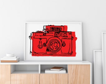 Comic Art Print, camera red wall art, camera print, comic art, red print, modern pop art, minimalism