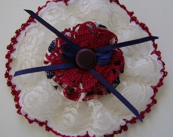 Red White & Blue with a Wide Lace Border Barrette 1 1/2 Inch