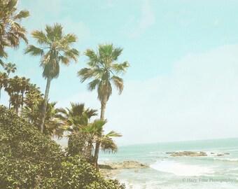 Palm Tree Print, Ocean Picture, Beach Photography Print, Laguna Beach Wall Decor, California Wall Art Tropical Photo Coastal Decor Surf Art