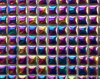 100 MINI Metallic Purple Blue Glazed Ceramic Tiles 3/8 in.//Mosaic Supplies//Crafts