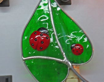Ladybug Night Light - 5 Choices (Custom) - Ladybugs on Leaf - Fused Glass Ladybug Nightlight - Stained Glass Red/Orange LadyBug Night Light