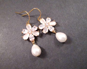 Pearl Earrings, Cubic Zirconia and Moonstone Flowers, White and Gold Dangle Earrings, FREE Shipping U.S.