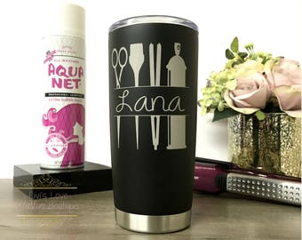 Hairdresser Coffee Travel Mug - Dishwasher Safe - 20 oz Stainless Steel to go cup - cosmetologist Gift - Personalized Hairdresser Gift
