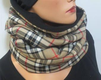 LOOP shawl collar hood in the Tartan soft warm cuddly great gift idea Christmas winter
