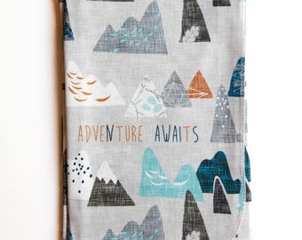 Adventure Awaits Swaddle Blanket / Receiving Blanket / Newborn Gift / Baby Shower Gift / Baby Boy Gift