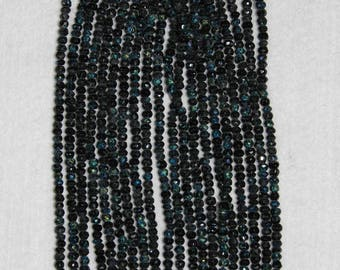 AB, AB Spinel, 3 mm, Black Spinel, Faceted Bead, Black Spinel Bead, Semi Precious, Natural Stone, Black Bead, Full Strand, AdrianasBeads