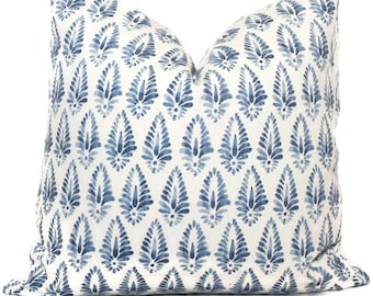 Light Blue and  White Block Print Decorative Pillow Cover, 18x18, 20x20, 22x22, 24x24, 26x26,  lumbar pillow  Lacefield Designs Agave