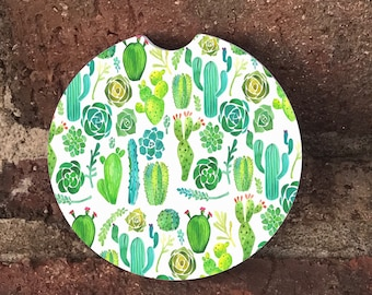 Custom Cactus Print Sandstone Auto Cup Holder Coasters (set of2), Absorbent Sandstone, Custom Car Coasters (set of2), Gift Ideas