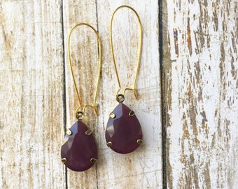 Plum Vintage Inspired Drop Earrings