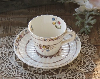Vintage Spode  Cowslip Demitasse Tea Cup and Saucer Set, English Bone China Tea Set for Weddings, Bridesmaid Luncheon, Tea Parties