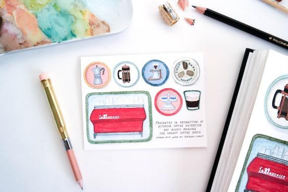 Coffee Snob Merit Badge Card