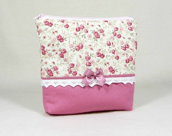 Cosmetic bag, pink make up bag, zipper case, toiletry storage bag, floral jewelry bag, handmade pouch
