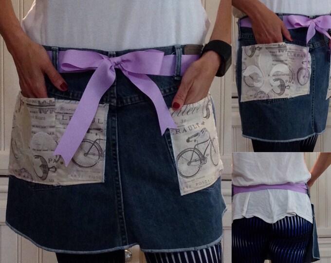 Denim half apron Paris bike print pockets purple ribbon waist ties white fluer de lis embroidered pocket dark blue repurposed denim