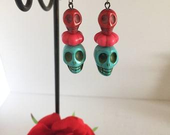Skull earrings/ Sugar skull earrings/ Day of the dead earrings