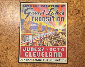 Cleveland Canvas Print - Great Lakes Exposition Travel Poster - 11x14