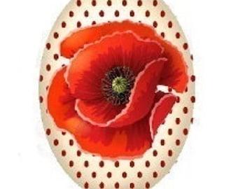 18x25mm, poppy red polka dots background