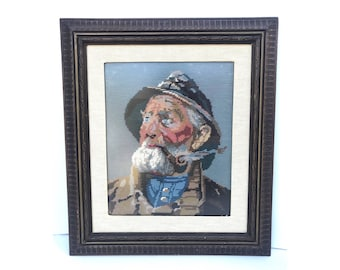 Nautical Needlepoint -- Old Sailer Needlepoint -- Old Sailor Needlepoint -- Vintage Needlepoint -- Fisherman Portrait -- Sailer Portrait