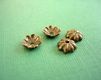 vintaj natural brass daisy bead caps, 6mm 4 pieces, brass bead caps