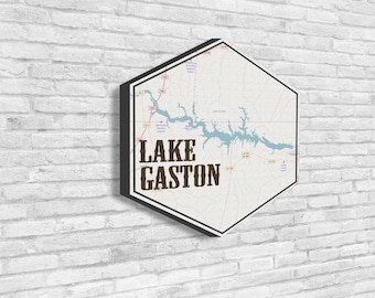 Lake Gaston, Hexagon, Lake House Decor, Hexagon Canvas, Travel Collection, Wanderlust, Lake Map, Visit Lake Gaston, Nautical Decor, Map