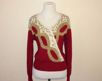 Beautiful Red and Gold Holiday Sweater