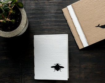 Small Handcrafted Softcover Notebook, Handmade Recycled Paper Cover, Hand Painted Bee Design, Lined Recycled Paper, Eco Friendly