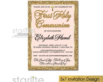 Pink and Gold First Communion Invitations Girl, Girl First Communion Invitation Printable, 1st Communion Invitations for Girls Printed