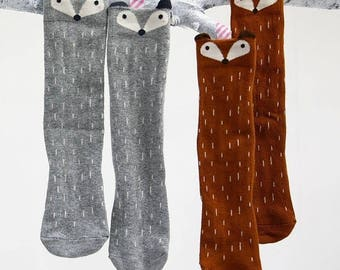Peeking Fox Knee High Socks, Little Knee Socks, Girls Socks