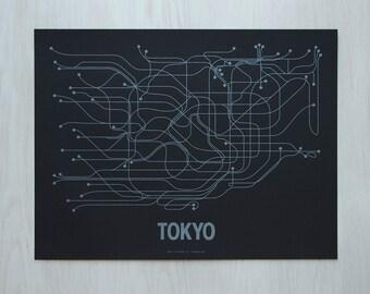 Tokyo Screen Print - Black/Metallic Blue