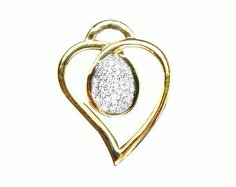 gold heart  diamond pendant  18k white gold
