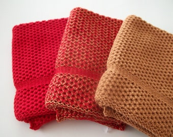 Dishcloths Knit on Cotton, in Red and Calfskin, Cotton Dishcloth, Dishcloth, Wash Cloth
