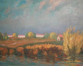 1970 Impressionist Painting Landscape, Signed