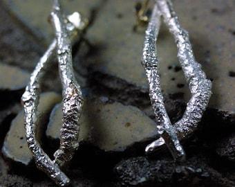 Silver Branch Earrings, Silver Twig Earrings, Organic Jewelry, Nature Inspired Jewelry, Unique Branch Earrings, Ready to Ship Earrings