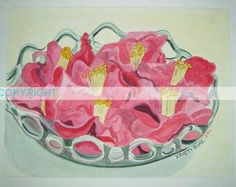 Bowl of Camellias   Original Watercolor Painting   Louisiana southern flower   La artist Kristi Jones   floral still life botanical art
