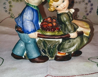 1950's Hand Painted Boy and Girl Wall Pocket Planter; Vintage Wall Pocket, Vintage Wall Planter, Vintage Wall Vase, Hand Painted