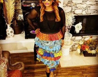 Multi-ankara ruffled layered midi skirt