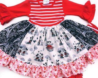 Valentine Minnie and Mickey Disney dress girls toddler Paris Disney dress Mickey mouse Minnie Mouse Momi boutique custom dress