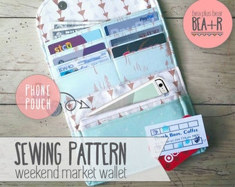 Weekend Market Phone Wallet - Sewing Pattern // Clutch / Phone Pouch / Pocketbook / All-in-one / Fat Quarter Project / PDF / Download