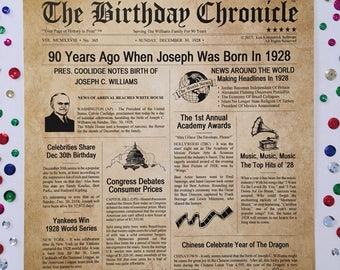90th Birthday Gifts, Personalized, Headline News Print, Time Capsule, Newsletter Style, 1928 Birthday Gift, Chronicle, 90th Milestone Gifts