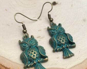 Owl Earrings, Patina Earrings, Owl Charm Earrings, BOHO Bohemian Earrings