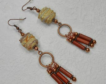 Bohemian Earrings - Gypsy Cowgirl Earrings - Statement Earrings - Tan Copper Earrings - Boho Chic Earrings - Dangle Drop Earrings -