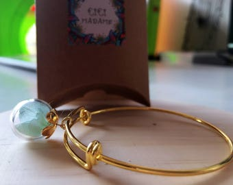 Pretty bracelet ball blown verre(diametre environ 1.6cm) filled with dried hydrangea