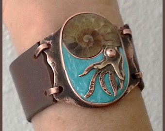 Nautical leather cuff bracelet with autor's decoration
