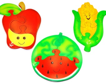 Combo1 Food puzzle with 3, 5 and 8 pieces in MDF-educational