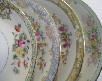 China Saucers Mismatched China, Tea Party, Tea Plates, Wedding, Bridal Shower, Bridal Luncheon, Cottage Chic - Set of 4