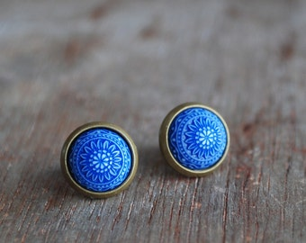 """Blue mosaic """""""" Blue and white Cabochon Earstuds // nautical"""