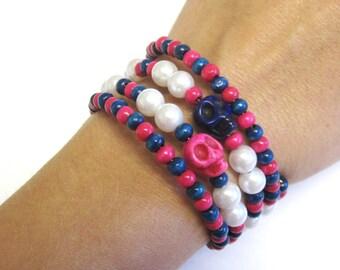 Pink Blue Sugar Skull Bracelet Day Of The Dead Jewelry Wrap Cuff