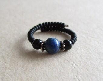 Chrysocolla onyx gemstone memory wire beaded ring