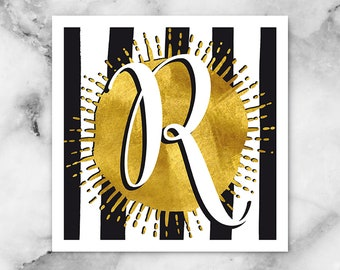 ABC Black/White Stripes-R-Poster, print, art print, typography art, Calligraphy, alphabet, initials, letter, letter, letters