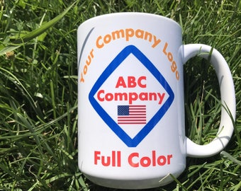 Company logo coffee mug Large mug 15 oz Promotional coffee mug with company logo and employee name