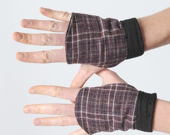 Purple plaid fingerless Gauntlets, Purple and black gloves, Winter accessories, Gift for her, MALAM